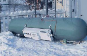 Algas-SDI tank heater in snow